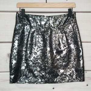 Silence + Noise Silver & Black Jacquard Skirt 8